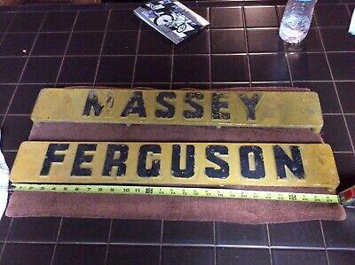Vintage Massey Ferguson Tractor Emblems Heavy Cast Aluminum Pair