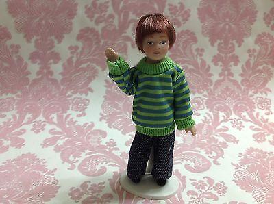 Dollhouse Miniature Porcelain Little Boy Poseable Ceramic Doll 1:12 w/ Stand