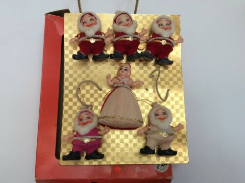 Vintage Flocked Christmas Ornaments Snow White and 5 Dwarfs Original Box Japan