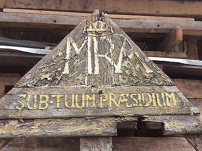 Historische Giebelspitze aus Eiche mit Inschrift