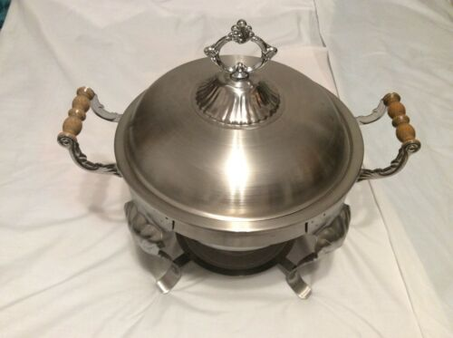 STAINLESS STEEL SOUP TUREEN W WOOD HANDLES