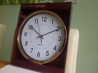 Large Circular Wall Clock Battery Powered Copper Colour 25cm White Faced - power - ebay.co.uk