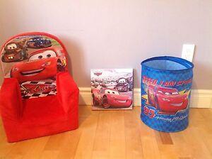 Cars chair, wall decoration & collapsible  toy bin