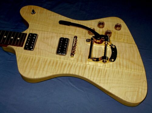 GLUFF CUSTOM POPLAR /CURLY MAPLE FIREBIRD STYLE GUITAR BODY, HAND MADE IN USA!!