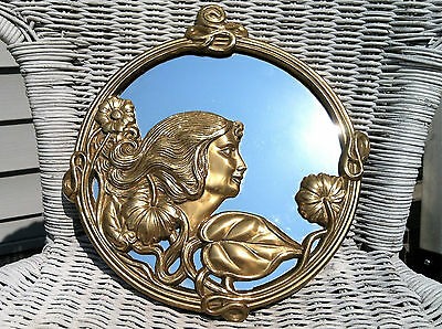 Vintage Hand Crafted Solid Brass Art Nouveau Mirror~Woman's Profile/Floral Motif