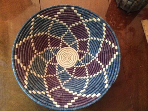 "Authentic Handwoven African Zulu  Bowl /Basket  15.5""x3.5 high"