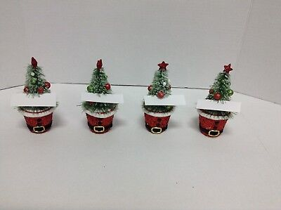 4 Holiday Time Christmas Tree Santa Claus Table Placecard Name Tag Holders NEW](Halloween Name Place Cards)