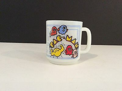 Vintage Midway Glasbake Pac Man Milk Glass Mug Coffee Cup