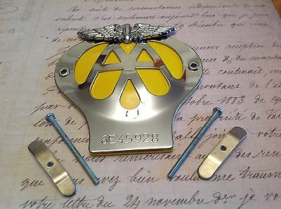 CLASSIC AA CAR BADGE SERIAL NUMBER 6E 967691 CHROME PLATED CLUB COLLECTABLE , used for sale  Shipping to Ireland