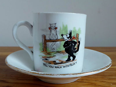 FELIX THE CAT ANTIQUE CUP & SAUCER / LITTLE JOHNNY STOUT NURSERY RHYME c1920's