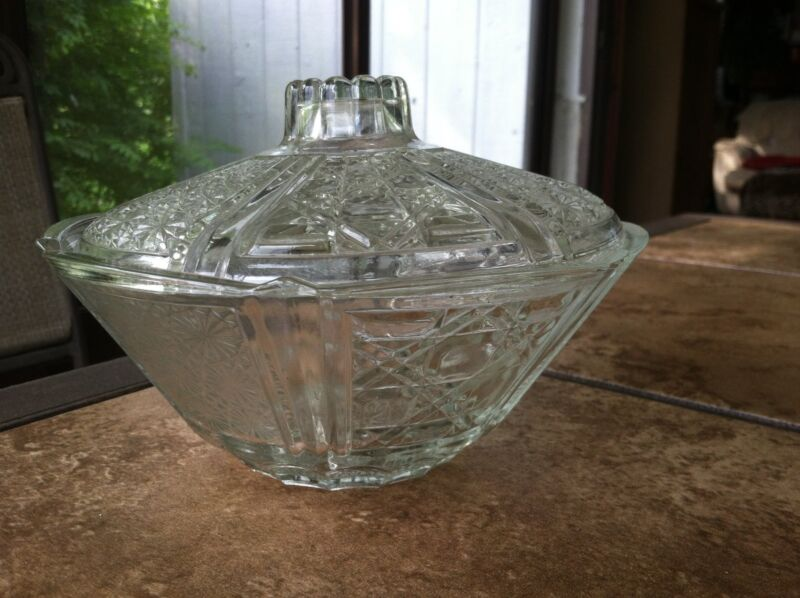 """ANTIQUE CUT GLASS CANDY DISH 7"""" with lid"""