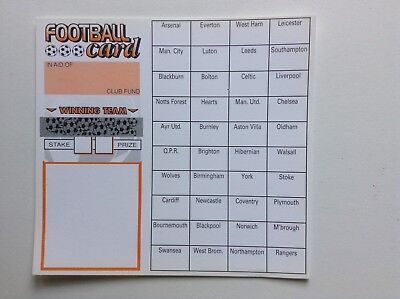 20 Football team cards charity fundraising (40 spaces)
