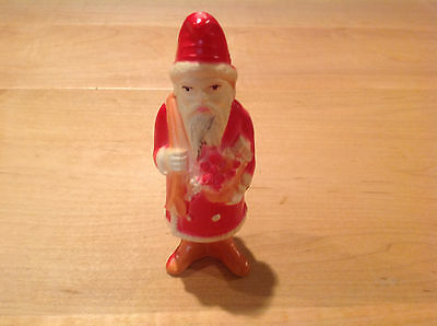 """Antique Celluloid Santa Claus Christmas Rattle Shaker Toy Ornament 5"""" Tall."""