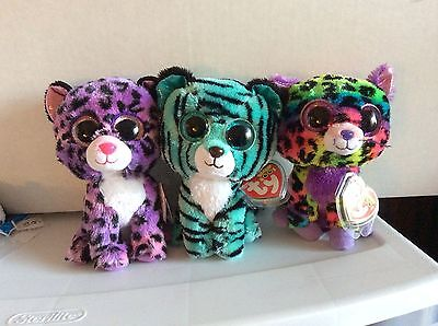 """Ty Beanie Boo Justice Exclusives JEWEL, TESS & TRiXIE 6"""" MWMTS"""
