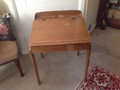 Vintage Marmet Wooden Childs Desk With Original China Inkwell