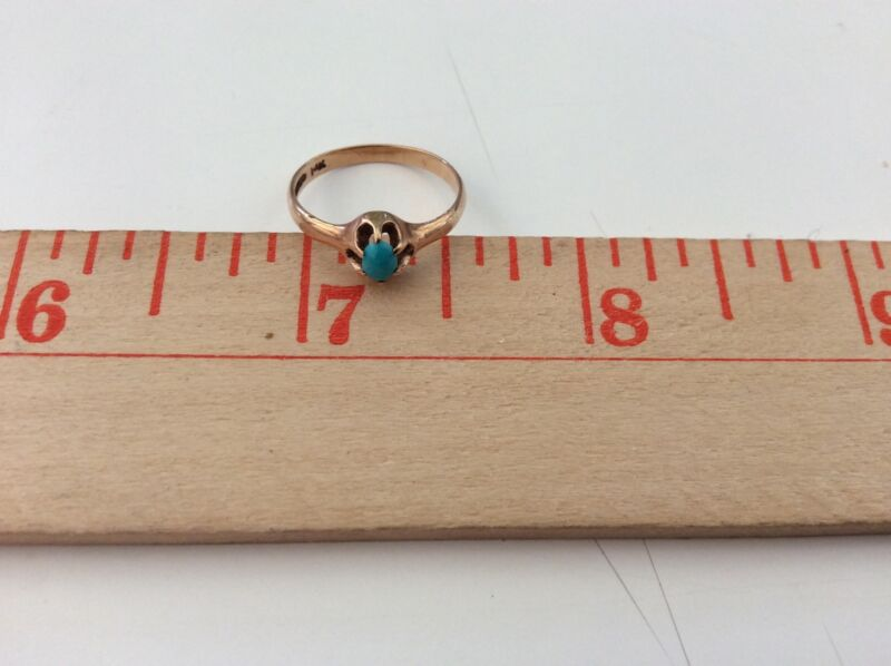 Vintage Sweet 14K Yellow Gold Turquoise Ring Sz 4 1/2