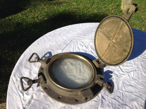 Antique Bronze Brass Ship Porthole w/ Storm Cover