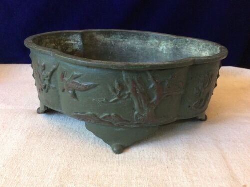 Vintage Japanese BOWL METAL Footed Planter TREES BIRD Relief BONSAI TREE PLANTER