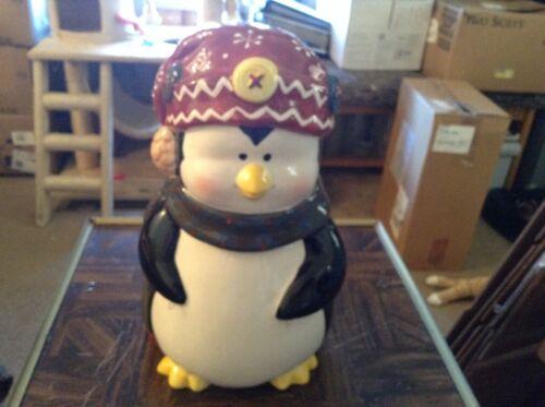 Berry merry ceramic Christmas penguin cookie jar