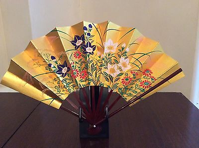Hand Painted Gold Flowers Both Sides Paper Bamboo Fan, Maisendo Japan