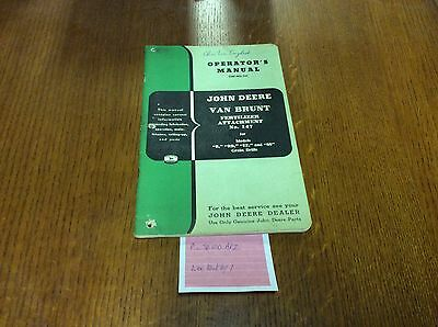 John Deere Van Brunt Omm3751 Fertilizer Attachment No. 147 Operators Manual