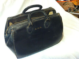 Vintage Antique Large Doctor's Bag Leather Dr Medical Black