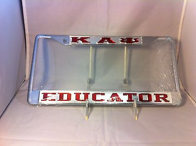 """Kappa Alpha Psi Fraternity """"Educator"""" Silver/Red License Plate Frame- New!"""