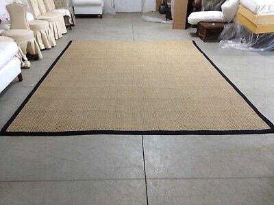 Ballard Designs Seagrass Indoor Area Carpet Rug Black Border 10x14 10' Seagrass Area Rug