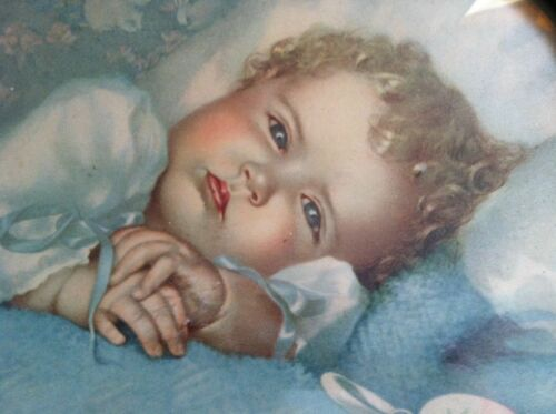 Vintage Annie Benson Muller Sweet Angelic Baby Heavens Gift Celluloid Frame