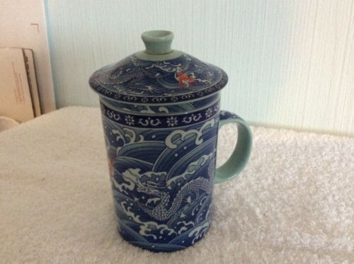 Asian Porcelain Tea Cup Strainer & Lid With Green & Blue Dragon Design