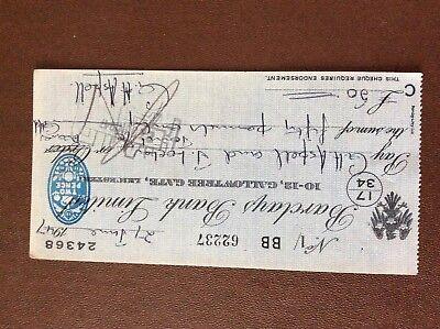 b1u ephemera cashed barclays bank cheque 1947 july 62237 bb