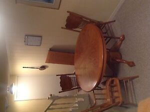 Dining room table and chairs with extension