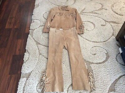 CELLO USA SUEDE FRINGED OUTFIT COSTUME SIZE SMALL