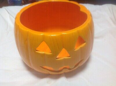 Vintage Marcia Ceramics Jack O Lantern Pumpkin Ceramics Pottery Halloween No Lid