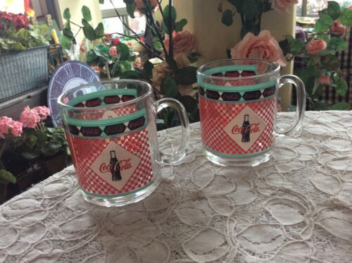 Vtg Pair Coca-Cola Nostalgic Glass 1999 Coffee Mugs Red Checkered Coca-Cola Co