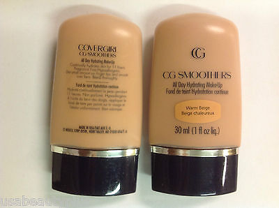 2 X CoverGirl CG Smoothers All Day Hydrating Makeup Foundation WARM BEIGE.