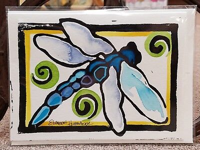 - Dragonfly Hand Painted Linoleum Block Print w/Watercolor Wash Note Card w/Env
