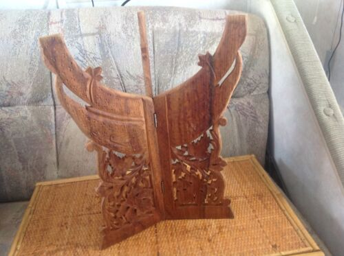 VINTAGE FOLDING Carved Maple LEAF elephant WOOD PLANT STAND Display