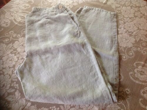 FLAX 100% Linen Pants, Pale Gray-Blue Women's Small