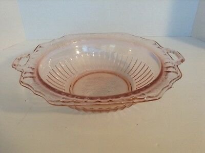 "Vintage Pink Depression Glass Handled Bowl w/ Handles 9.75"" x 11.75""  3"" deep"