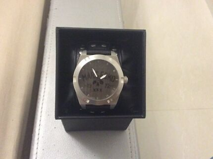 Marc Ecko Men's The Rock Black Leather Cuff Watch Cecil Hills Liverpool Area Preview