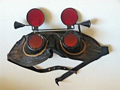 Antique Steampunk authentic glasses goggle Hoodwinks flip metal velvet blindfold](Velvet Goggles)