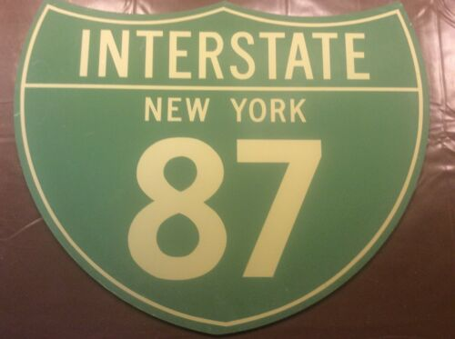 Vintage USA American Road Street Sign New York Interstate 87 Americana Mancave