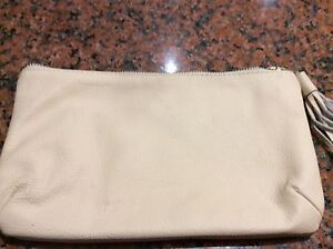 Purse / cosmetic bag beige genuine leather with tassels Ormond Glen Eira Area Preview