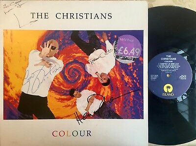 THE CHRISTIANS , HAND SIGNED ISLAND ALBUM 'COLOUR' VERY GOOD CONDITION