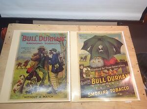 VINTAGE 2 BULL DURHAM TOBACCO POSTERS (BLACK AMERICANA) EXCELLENT