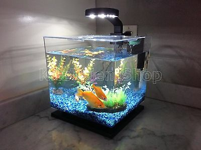 3-Gallon Fish Tank Aquarium Cube LED Light Freshwater Office Home Decoration NEW