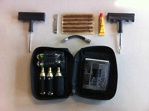 MOTORCYCLE TYRE PUNCTURE REPAIR INFLATOR KIT 5 X CO2 CARTRIDGES X-TECH