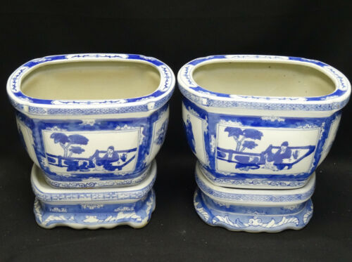 PAIR of ANTIQUE 19c ENGLISH ORIENTAL INFLUENCE MOTIF BLUE & WHITE PLANTER +STAND