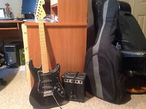Electric guitar and speaker with case